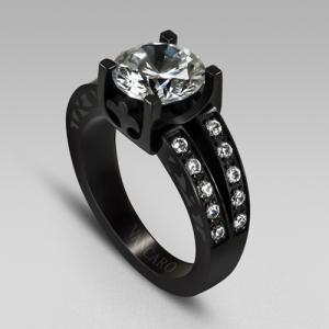 Round Cut Engagement Rings Black Wedding Ring For Women