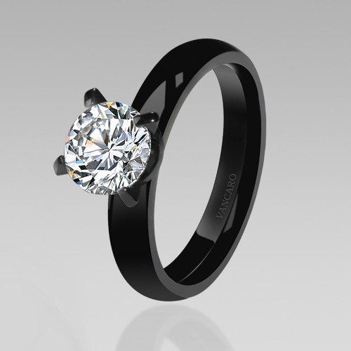 Black Women\'s Wedding Rings Stunning Solitaire Style White Cubic Zirconia Engagement  Ring