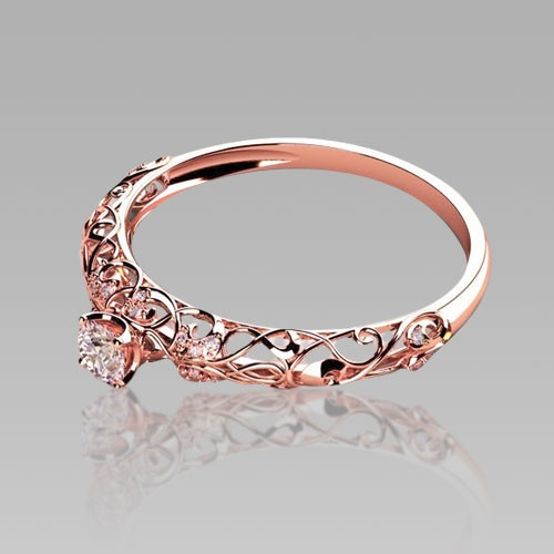Rose Gold Engagement Rings Retro Cutout Sterling Silver Women s Cubic Zir